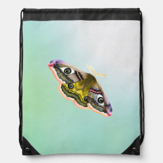 Emperor Hawk Moth Painting Watercolour Drawstring Backpack