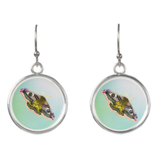 Emperor Hawk Moth Painting Watercolour Earrings