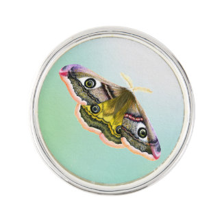 Emperor Hawk Moth Painting Watercolour Pin
