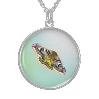 Emperor Hawk Moth Painting Watercolour Sterling Silver Necklace
