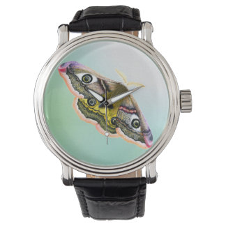 Emperor Hawk Moth Painting Watercolour Wristwatch