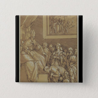 Emperor Henri IV  at the feet of Pope Gregory Button