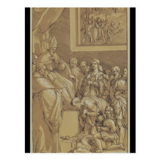 Emperor Henri IV  at the feet of Pope Gregory Postcard