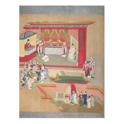 Emperor Hui Tsung  practising with the Buddhist Postcard