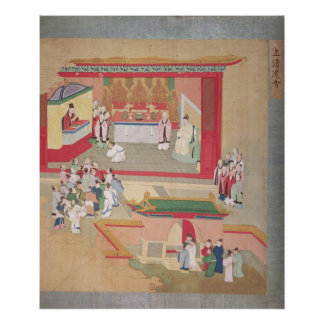 Emperor Hui Tsung  practising with the Buddhist Poster