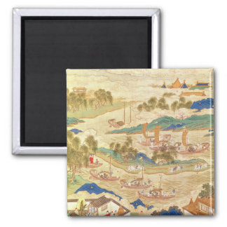 Emperor Hui Tsung  transporting pierced stones 2 Inch Square Magnet