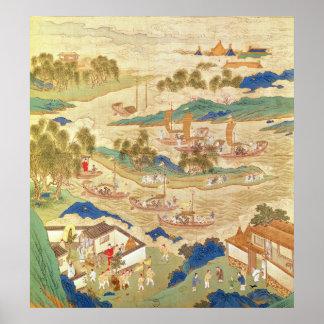 Emperor Hui Tsung  transporting pierced stones Poster