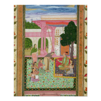 Emperor Jahangir (1569-1627) with his consort and Poster