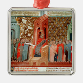 Emperor Justinian  and his court Metal Ornament