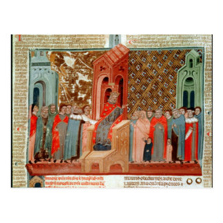 Emperor Justinian  and his court Postcard
