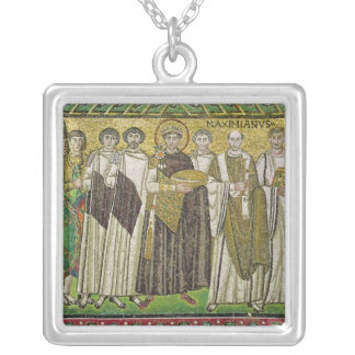 Emperor Justinian I Square Pendant Necklace
