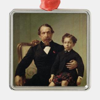 Emperor Louis-Napoleon Bonaparte  and his son Metal Ornament