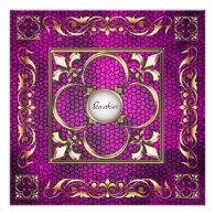 Emperor Pearl Fleur De Lis Pink Regency Invitation