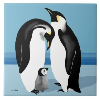 Emperor Penguin Family Art Ceramic Tile