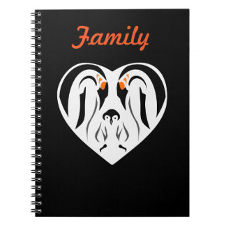 Emperor Penguin Family Love Heart Notebook