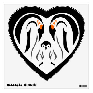 Emperor Penguin Family Love Heart Wall Decal