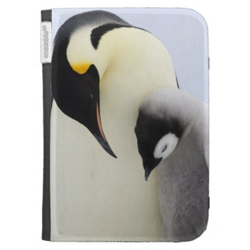 Emperor Penguin looking at chick Kindle Keyboard Cases