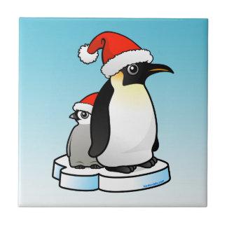Emperor Penguin Santa Ceramic Tile