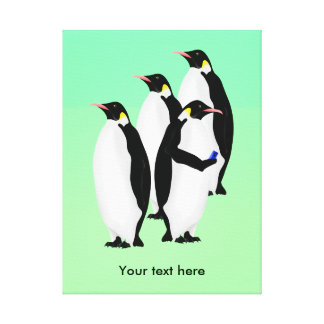 Emperor Penguin Using A Mobile Device Phone Canvas Print