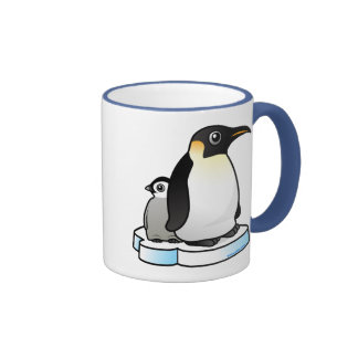 Emperor Penguin with Chick Ringer Coffee Mug