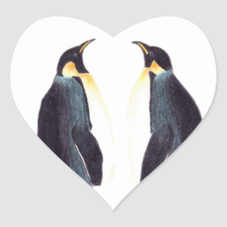 Emperor Penguins Heart Stickers