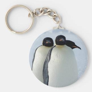 Emperor Penguins Huddled Basic Round Button Keychain