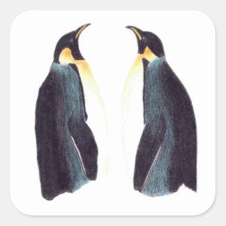 Emperor Penguins Square Stickers