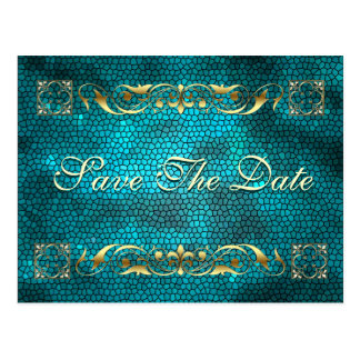 Emperor Teal Save The Date Postcard