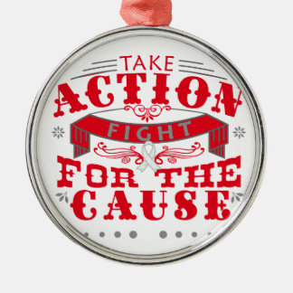 Emphysema Take Action Fight For The Cause Round Metal Christmas Ornament