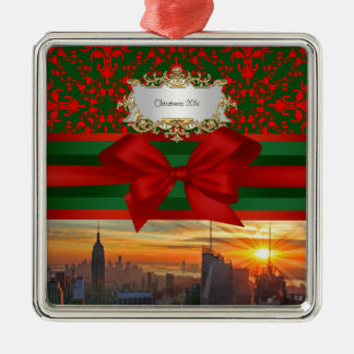 Empire St Bldg Sunset NYC Red Green Damask Xmas #2 Metal Ornament