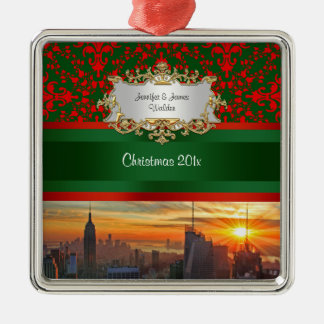 Empire St Bldg Sunset NYC Red Green Damask Xmas Metal Ornament