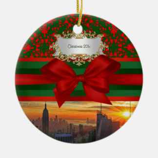 Empire St Bldg Sunset NYC Red Grn Damask Xmas #2R Ceramic Ornament