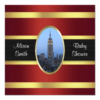 Empire State Building 03 Burgundy Gold Baby Shower Card