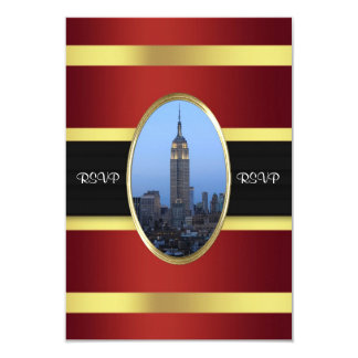 Empire State Building 03 Burgundy Gold RSVP Card