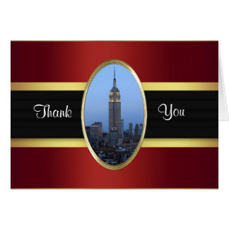 Empire State Building 03 Burgundy Gold Thank You Stationery Note Card