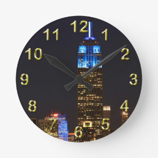 Empire State Building 30 Rock blue for Autism 2012 Round Clock