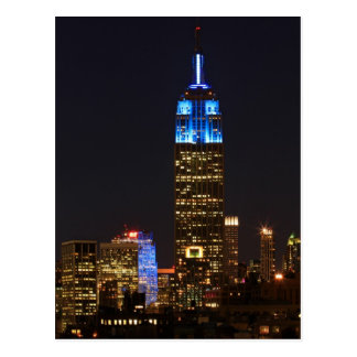 Empire State Building 30 Rock in blue for Autism 2 Postcard