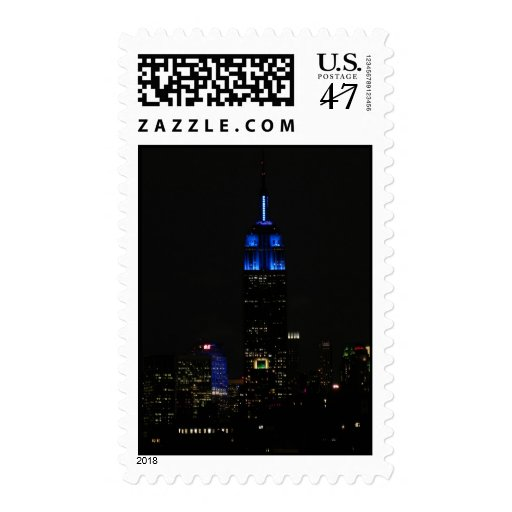 Empire State Building, 30 Rock in blue for Autism Stamp