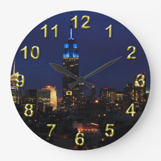 Empire State Building all in Blue, NYC Skyline Wall Clock