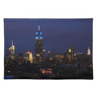 Empire State Building all in Blue, NYC Skyline Cloth Placemat
