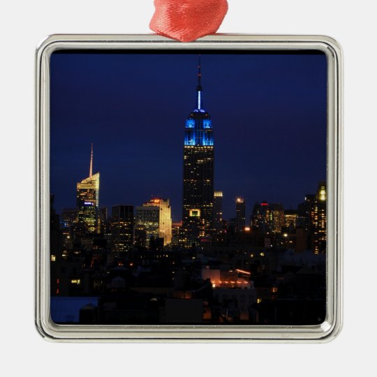 Empire State Building all in Blue, NYC Skyline Metal Ornament