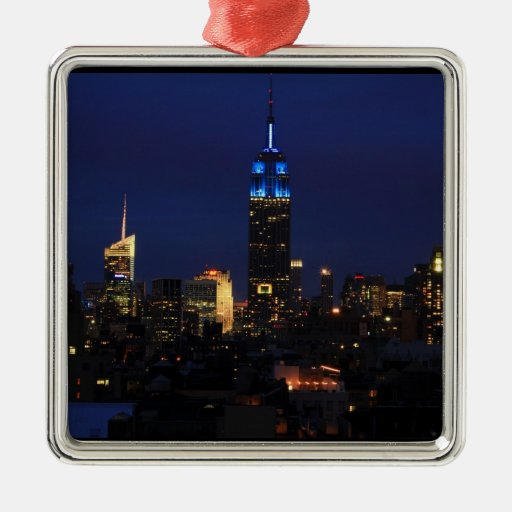 Empire State Building all in Blue, NYC Skyline Christmas Ornaments