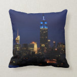 Empire State Building all in Blue, NYC Skyline Throw Pillows