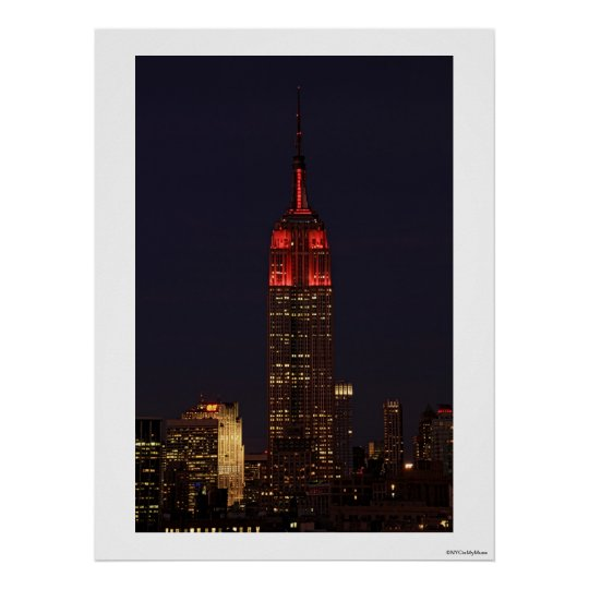 Empire State Building all in red Poster