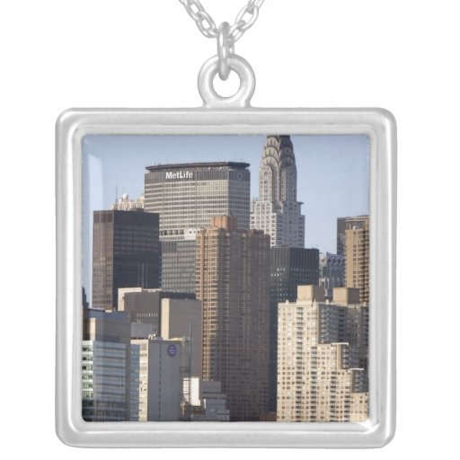 Empire State Building and New York City, New Square Pendant Necklace