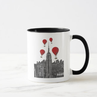 Empire State Building and Red Hot Air Balloons Mug