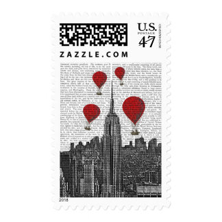 Empire State Building and Red Hot Air Balloons Postage