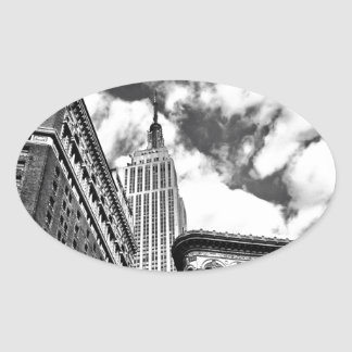 Empire State Building and Skyscrapers Oval Sticker