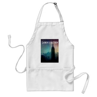 Empire State Building at colorful dusk Adult Apron
