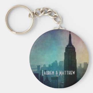 Empire State Building at colorful dusk Keychain